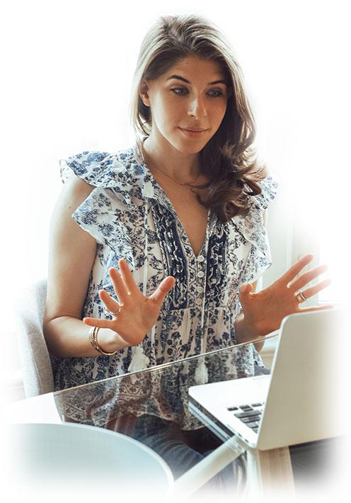 Rachel at computer